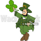 Cartoon St Patricks Day Leprechaun Holding up a Four Leaf Clover © djart #1631925
