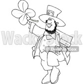 Cartoon Black and White St Patricks Day Leprechaun Holding up a Four Leaf Clover © djart #1631926