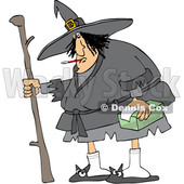 Sick Chubby Witch with a Thermometer in Her Mouth and Tissues in Hand © djart #1632264