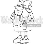 Cartoon Lineart Happy Black Male Hiker with Gear © djart #1632447