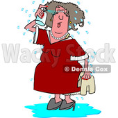 Cartoon White Woman Spraying Herself down During a Hot Flash © djart #1632448