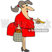 Cartoon Chubby White Woman Holding a Bag of Oranges and Unlocking a Door © djart #1632892