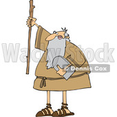Cartoon Moses Holding up a Stick and the Ten Commandments Tablet © djart #1633029