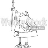 Cartoon Black and White Moses Holding up a Stick and the Ten Commandments Tablet © djart #1633030
