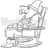 Cartoon Black and White Senior Man Smoking a Pipe and Sitting in a Rocking Chair © djart #1633277