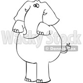 Cartoon Black and White Elephant Begging © djart #1633278