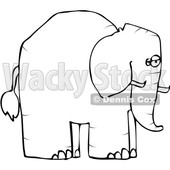 Cartoon Black and White Elephant in Profile © djart #1633280
