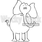 Cartoon Black and White Elephant © djart #1633282