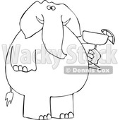 Cartoon Black and White Elephant Holding a Margarita © djart #1634020
