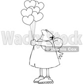 Cartoon Black and White Chubby Cupid with Valentines Day Heart Balloons © djart #1636247