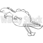 Cartoon Black and White Leaping Dinosaur © djart #1636250