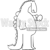 Cartoon Black and White Dinosaur Checking the Time on His Wrist Watch © djart #1637324