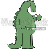 Cartoon Dinosaur Checking the Time on His Wrist Watch © djart #1637327