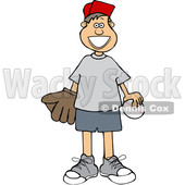 Cartoon Happy White Boy with a Baseball and Glove © djart #1637683