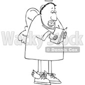 Cartoon Black and White Male Angel Singing © djart #1637801