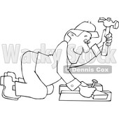 Cartoon Black and White Male Carpenter Kneeling and Hammering © djart #1637804