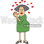 Cartoon White Woman Clasping Her Hands Together Under Love Hearts © djart #1637805