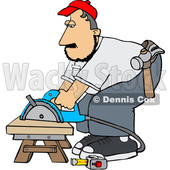 Cartoon White Male Carpenter Using a Circular Saw © djart #1638982