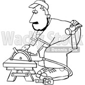 Cartoon Black and White Male Carpenter Using a Circular Saw © djart #1638983