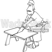 Cartoon Black and White Male Carpenter Using a Saw © djart #1639881