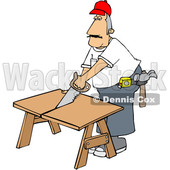 Cartoon White Male Carpenter Using a Saw © djart #1639882