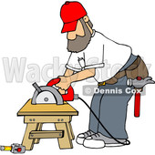 Cartoon White Male Carpenter Working with a Circular Saw © djart #1639883