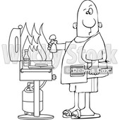 Cartoon Black and White Man Holding a Salt Shaker and Watching As the Flames Get High on His Bbq Grill © djart #1641079
