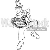 Cartoon Black and White Man Dancing and Playing an Accordion © djart #1641083