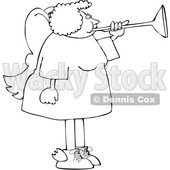 Cartoon Black and White Chubby Female Angel Playing a Horn © djart #1641084