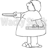 Cartoon Black and White Chubby Woman Holding out a Plate for Seconds © djart #1641085