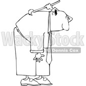 Cartoon Black and White Business Man Scratching His Back © djart #1641086