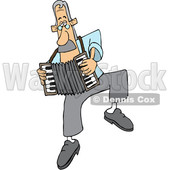 Cartoon White Man Dancing and Playing an Accordion © djart #1641091