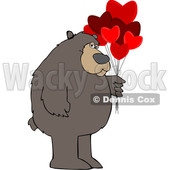 Cartoon Brown Bear Holding Valentine Balloons © djart #1641473