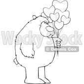 Cartoon Black and White Bear Holding Valentine Balloons © djart #1641474