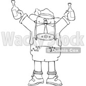 Black and White Drunk Oktoberfest Man Holding up Beer Bottles © djart #1641476