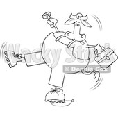 Cartoon Black and White Cow Worker Slipping on a Banana Peel © djart #1642106