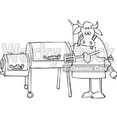 Cartoon Black and White Cow Using a Smoker © djart #1642108