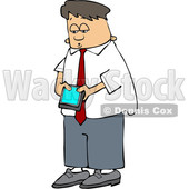 Cartoon Young White Business Man Checking His Cell Phone © djart #1643860