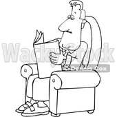 Cartoon Black and White Businessman Reading a Newspaper in a Chair © djart #1643861