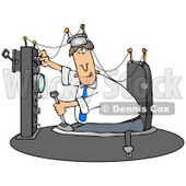 Caucasian Man Experimenting In His Time Machine Invention Clipart Illustration Graphic © Dennis Cox #16460