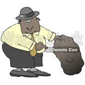 African American Man In A Black Hat, Blue Shirt, Slacks And Gray Shoes, Holding Up A Rock And Pointing Underneath It Clipart Illustration Graphic © djart #16461
