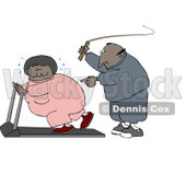 African American Man In Sweats, Swinging A Whip While Telling His Blond Wife To Keep Exercising On A Treadmill Clipart Illustration Graphic © Dennis Cox #16463