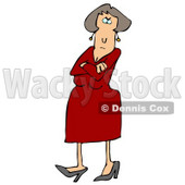 Angry Caucasian Woman In A Red Dress And Heels, Standing With Her Arms Crossed And Tapping Her Foot With A Stern Expression On Her Face Clipart Illustration Graphic © djart #16466