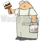 Caucasian Man Holding A Bucket Of White Paint And Using A Paintbrush To Paint A Wall Clipart Illustration Graphic © Dennis Cox #16468