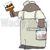 African American Man Holding A Bucket Of White Paint And Using A Paintbrush To Paint A Wall Clipart Illustration Graphic © djart #16470