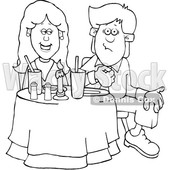 Cartoon Black and White Couple on a Date at a Restaurant © djart #1647088