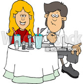 Cartoon Couple on a Date at a Restaurant © djart #1647090
