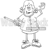 Cartoon Black and White Hillbilly Woman Holding a Gun and Waving © djart #1647267