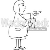 Cartoon Black and White Female Scientist Holding out a Pencil and Clipboard © djart #1647268