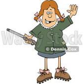 Cartoon Hillbilly Woman Holding a Gun and Waving © djart #1647269